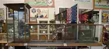 Large L Shaped Oak & Glass Counter Top