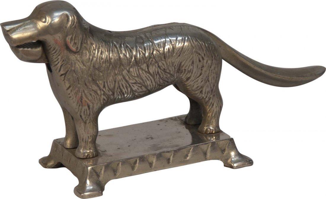 Nickel-Plated Cast Iron Figural Dog Nutcracker