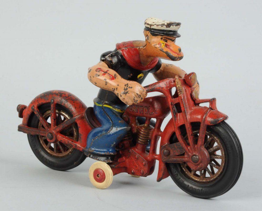 Hubley Cast Iron Popeye Patrol Motorcycle Toy.