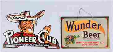 Lot Of 2 Wunder Beer Sign  Pioneer Club Topper
