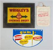 Lot Of 3: Chewing Gum Advertising Pieces.