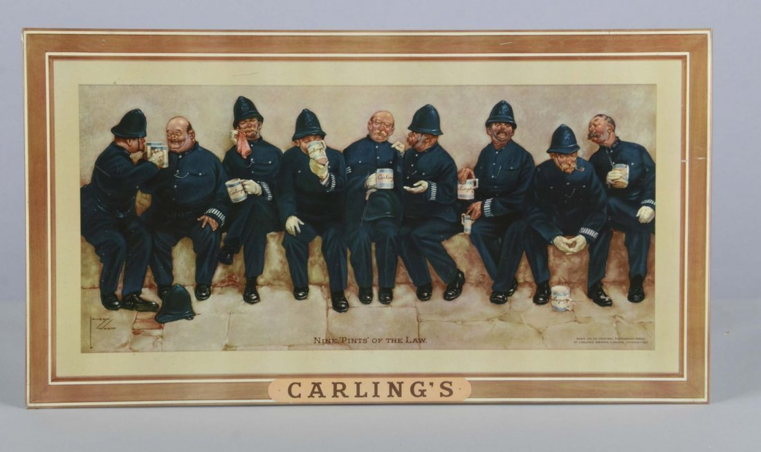 Carling's Brewery Lawson Wood Litho Tin Sign