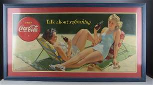 Large Coca Cola Advertising Poster In Frame