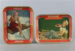 Lot Of 2 Coca Cola Tin Serving Trays