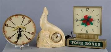 Lot of 3 Advertising Display Clocks