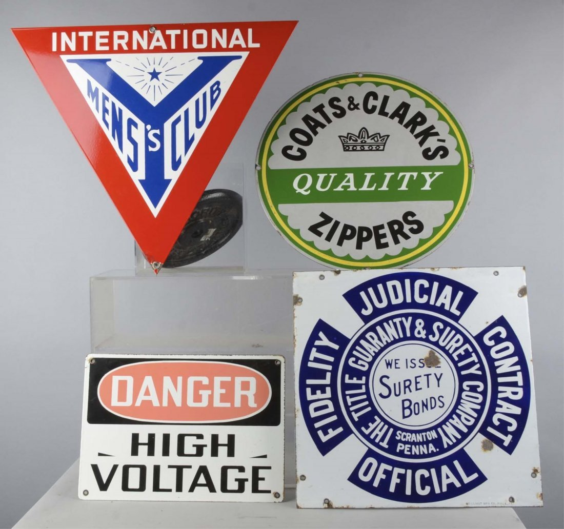 Lot of 4: Single Sided Porcelain Signs