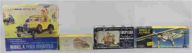 Lot Of 4: Roadster, Wagon, Plane & Ship Model Kits