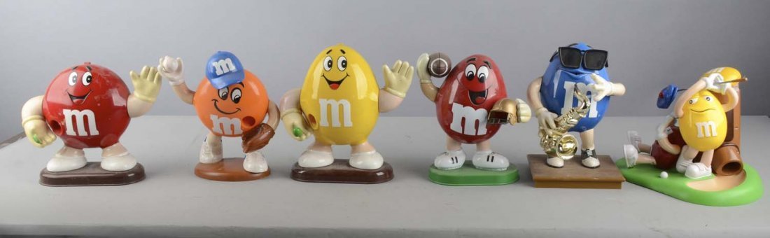Lot of 7: Plastic M&M Dispensers and Metal Stand