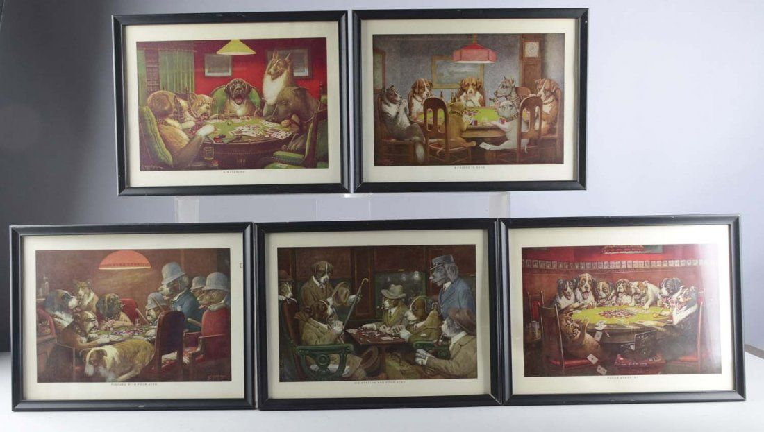 Lot of 5: Coolidge Dogs Playing Poker Lithos