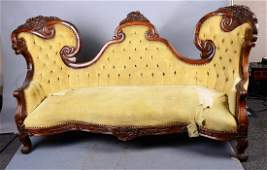 Antique Rosewood Framed Tufted Velvet Couch