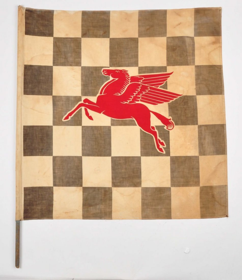 Mobil Pegasus Checkered Racing Flag.