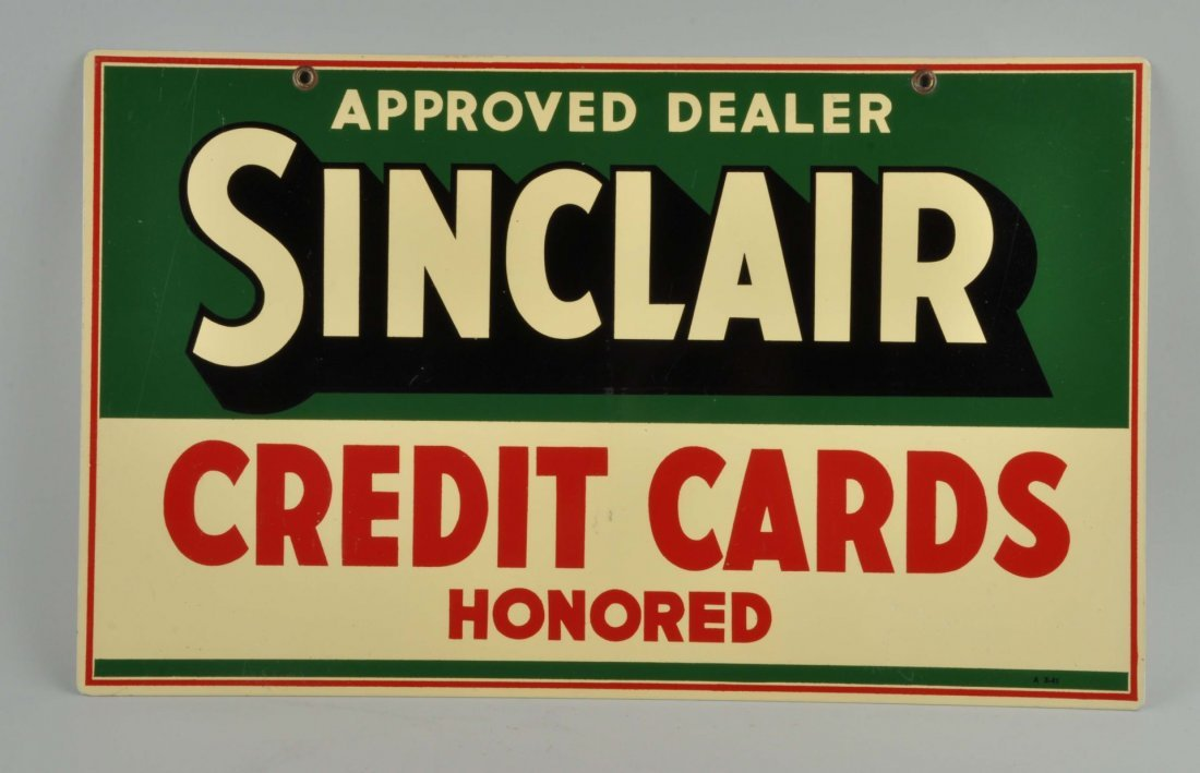 1941 Sinclair Credit Cards Tin Sign.