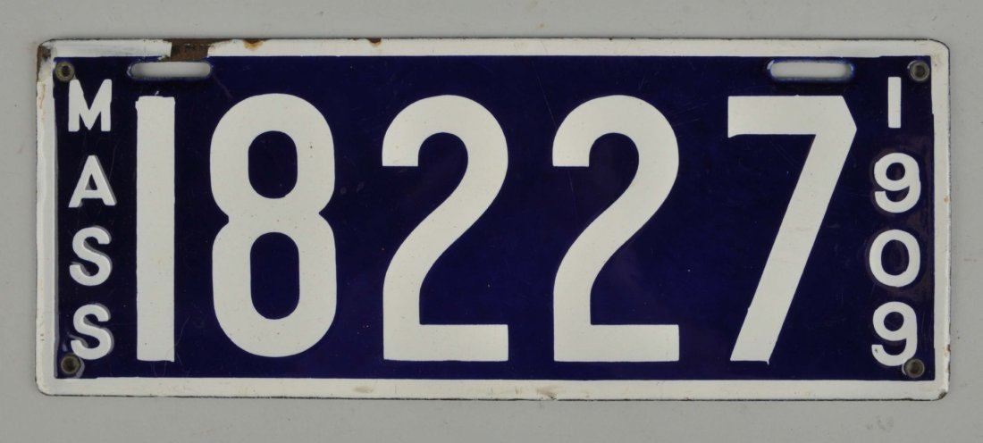 1909 Massachusetts Porcelain License Plate.