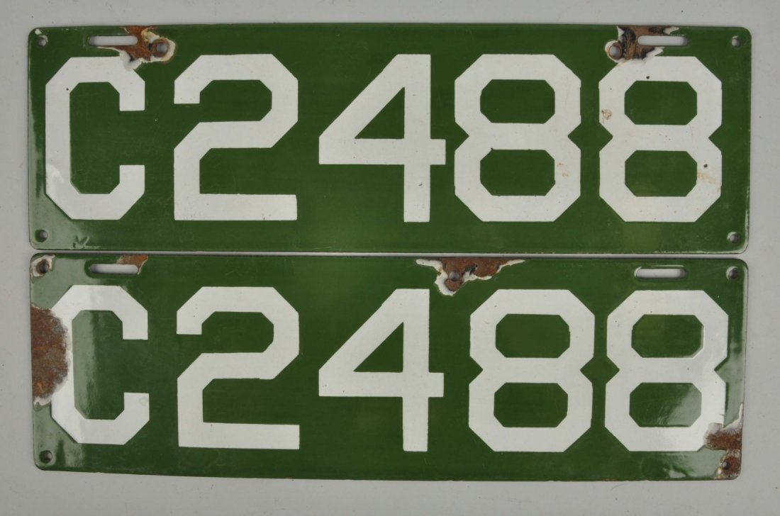 Set Of 1912 Connecticut License Plates.