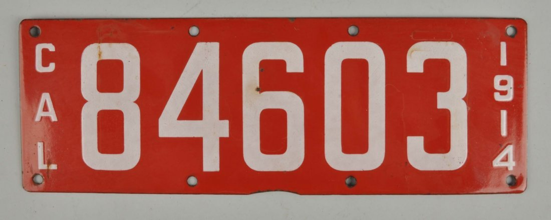 Single Porcelain 1914 California License Plate.