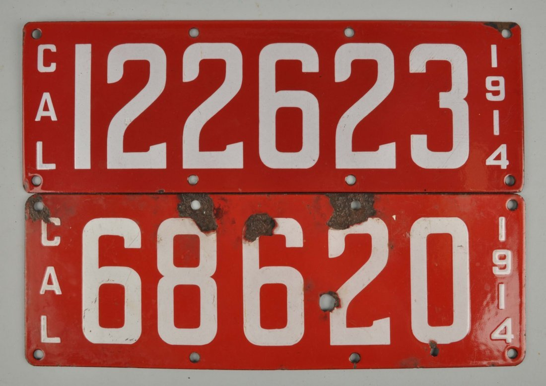 Lot Of 2: Cal. 1914 Porcelain License Plates.