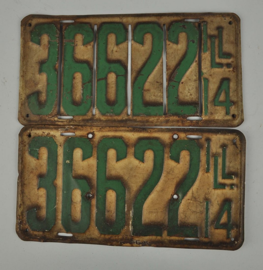 Set Of 1914 Illinois License Plates.