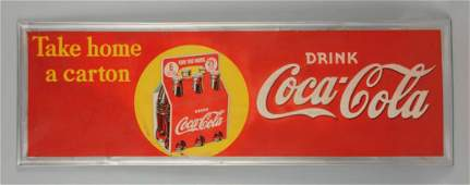 1940s CocaCola Take Home a Carton Sign