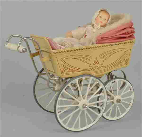 Tin Toy Baby Carrage With Doll.