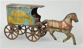 Tin Litho US Mail Horse Carriage Cart Toy