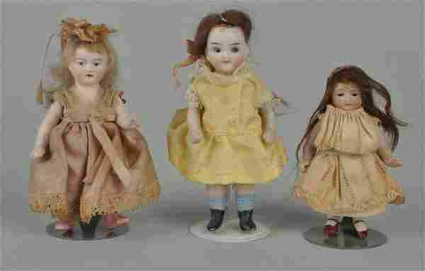 Lot Of 3: Small Bisque Dolls.