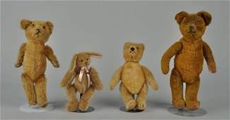 3 Teddy Bears & 1 Rabbit Stuffed Animal.