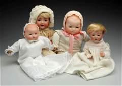 Lot Of 4 German Bisque Baby Dolls