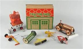 Marx Tin Litho Wind-Up Tractor Shed Set.