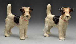 Pair Of Cast Iron Wirehaired Fox Terrier Bookends