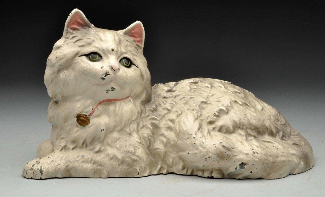 Cast Iron Reclining Persian Cat Doorstop.