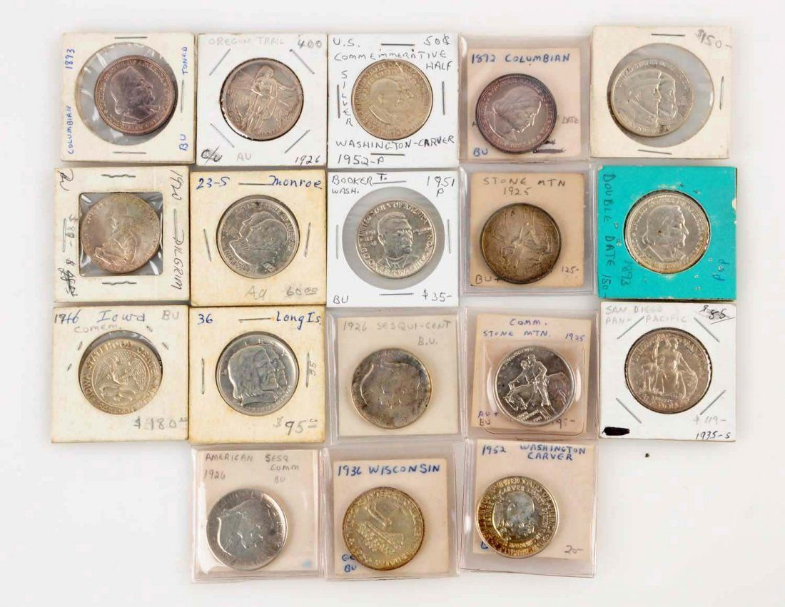 Lot Of 18: Silver Commemorative U.S. Coins.