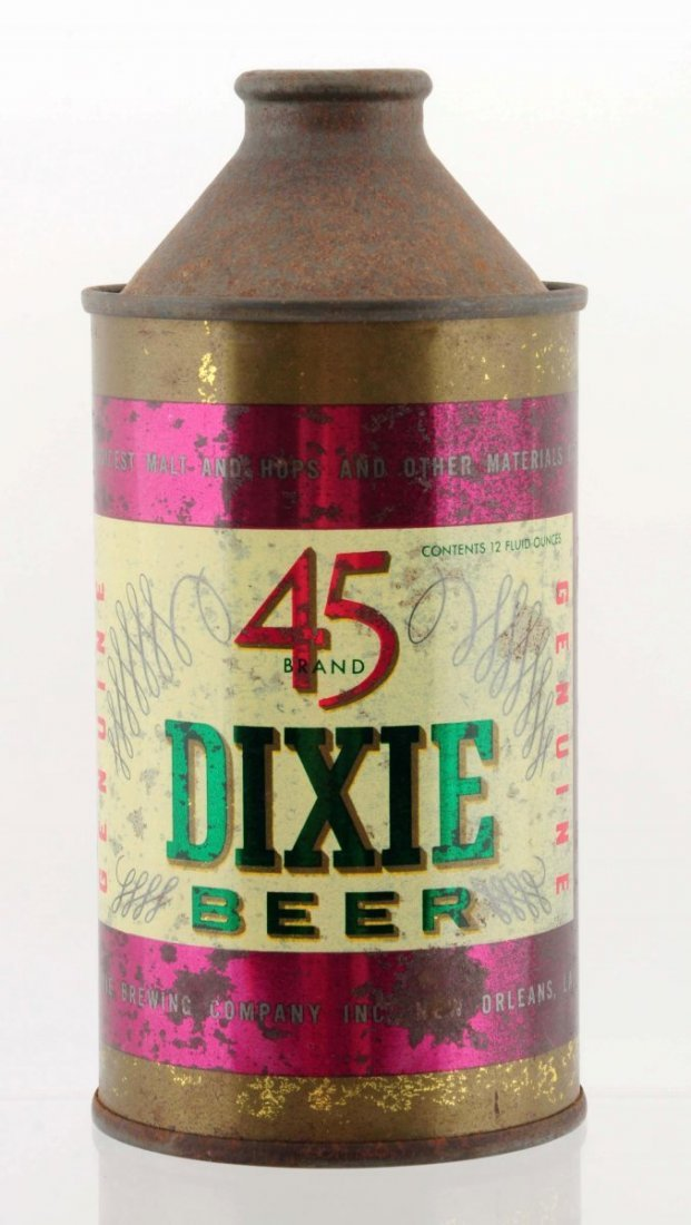 Dixie 45 Brand Cone Top Beer Can.