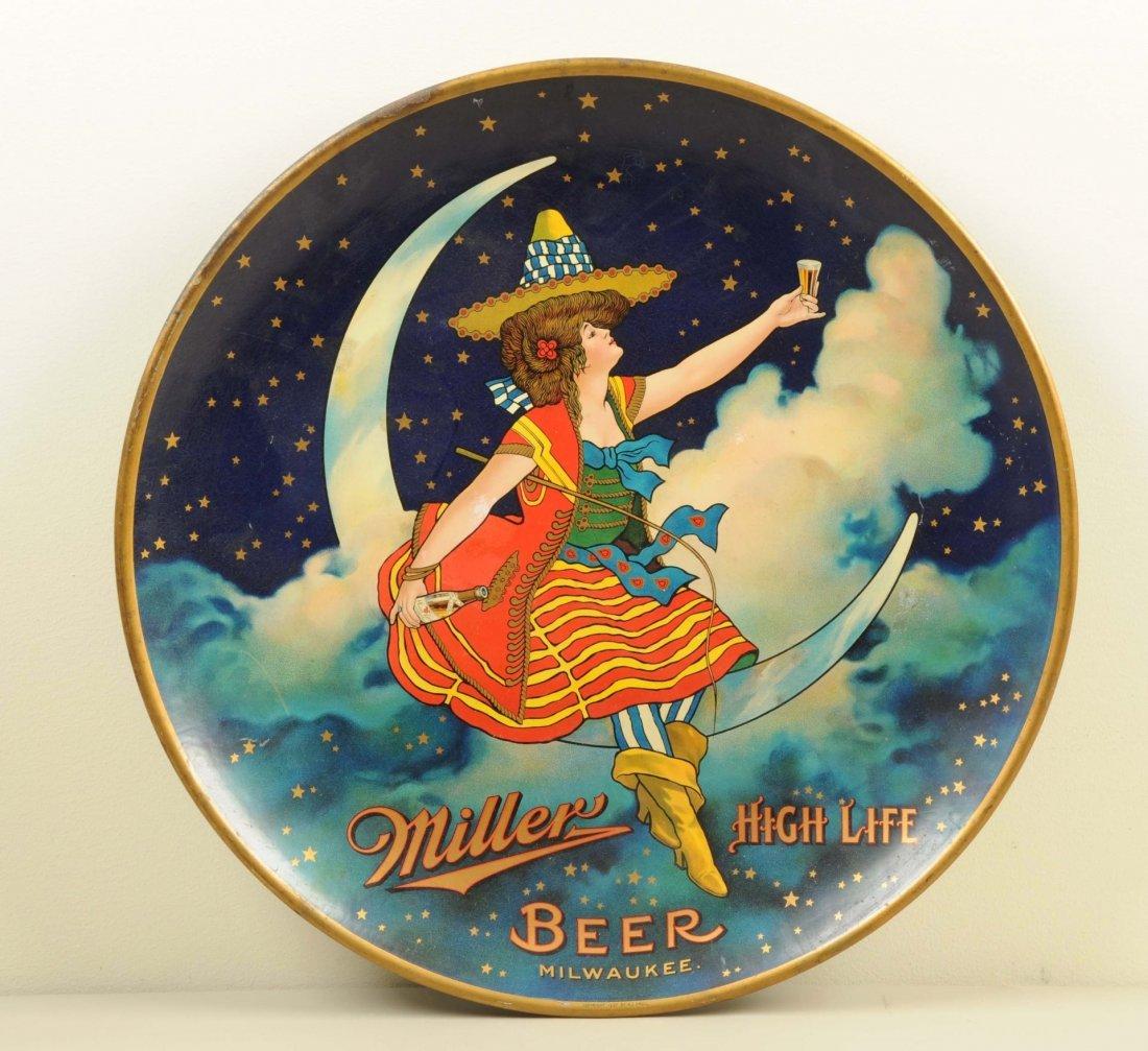 Miller High Life Girl on Moon Tin Charger.