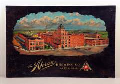 The Akron Brewing Company Lithograph on Wood Sign.