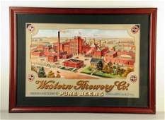 Western Brewery Company Building Lithograph Sign.