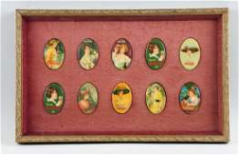 Framed Group Of 10 CocaCola Pocket Mirrors