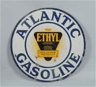 Atlantic Gasoline Double Sided Porcelain Sign