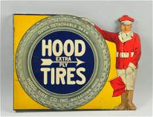 Hood Extra Ply Tires Diecut Tin Flange Sign.