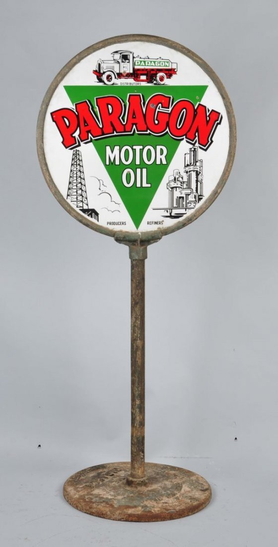 Paragon Motor Oil with Logo Sign.