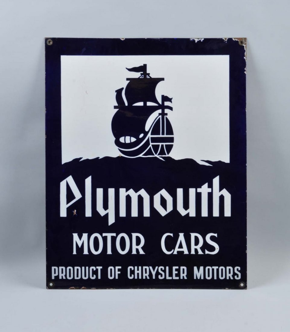Plymouth Motor Cars with Ship Logo Sign.