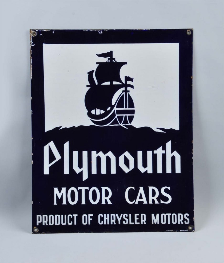 Plymouth Motor Cars with Ship Logo Sign. - 2