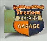 Firestone Tires Auto Supplies Tin Flange Sign.