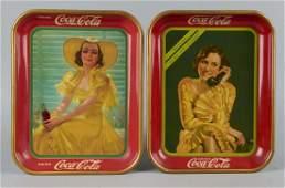 Lot Of 2: Coca Cola Tin Serving Trays