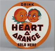 Heart O Orange Soda Tin Advertising Sign