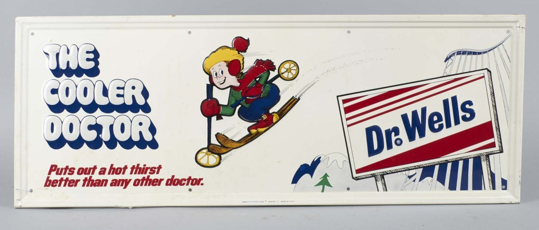 Dr. Wells Soda Embossed Tin Advertising Sign