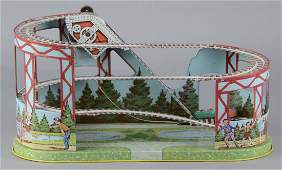 Chein Wind-Up Tin Litho Toy Roller Coaster In Box