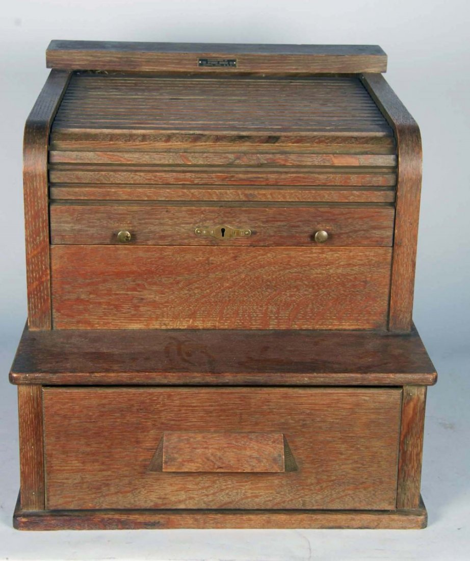 Roll Top File Cabinet With Bottom Drawer