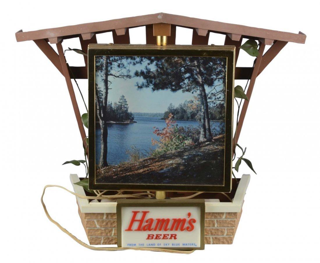Spinning Hamm's Beer Lighted Clock Sign