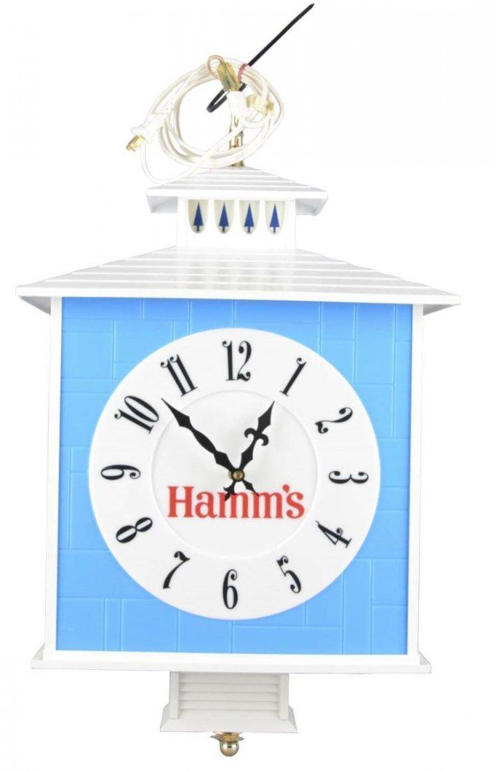 Hamm's Beer Hanging Clock Sign