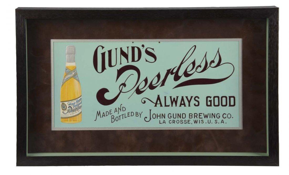 Gund's Peerless Embossed Framed Advertising Sign